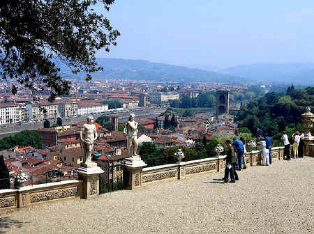 Panoramic view out over the Arno and Florence from the Bardini Garden
